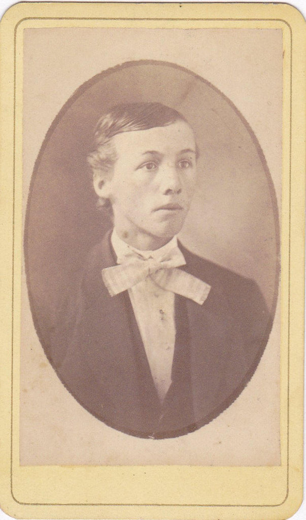 Victorian Boy- 1800s Antique Photograph- Teenage Boy- New Castle, IN- CDV- Carte de Visite- Photographer Albright- 19th Century- Found Photo