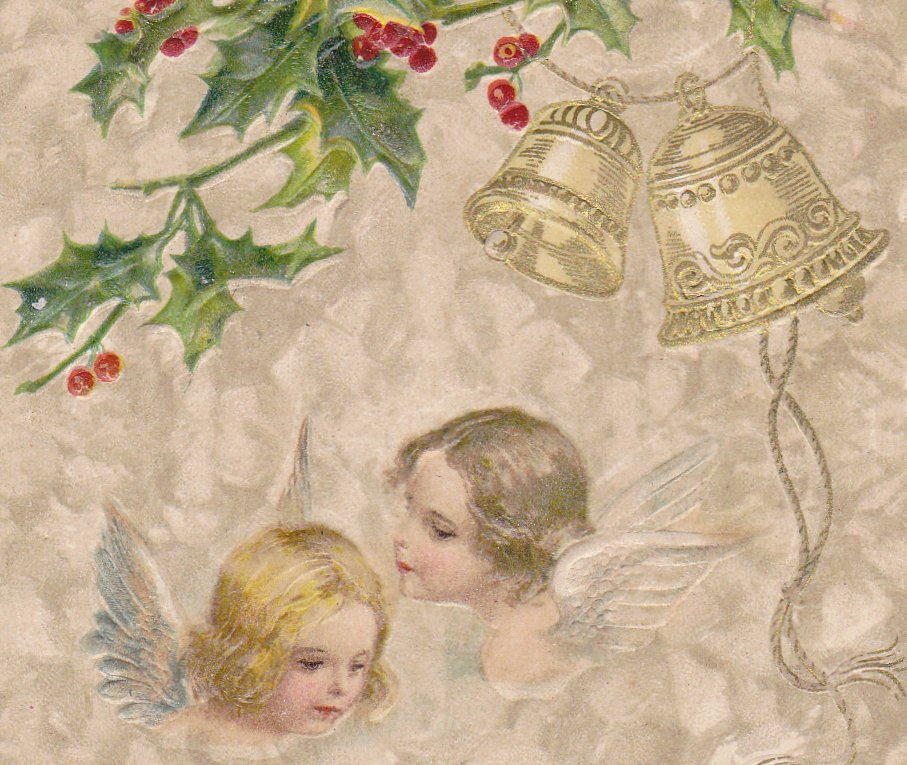 Christmas Cherubs- 1910s Antique Postcard- Edwardian Christmas Angel- John Winsch- Bells and Holly- Used