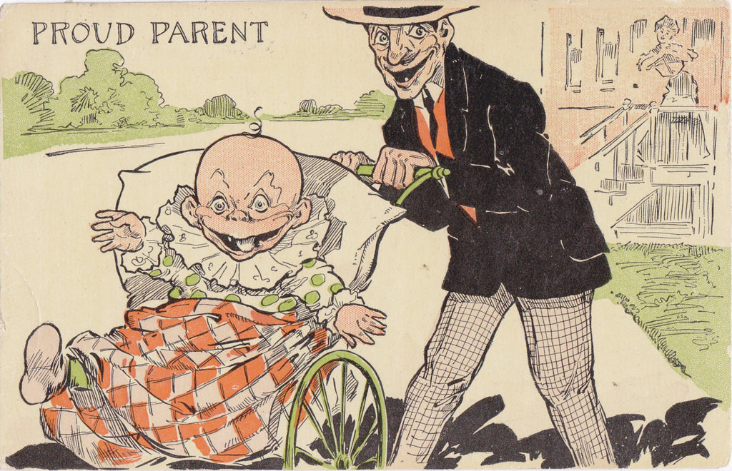 Proud Parent- 1900s Antique Postcard- Edwardian Humuor- Art Comic- Albert Hahn AH- Creepy Baby Clown- Weird Smiles- Used