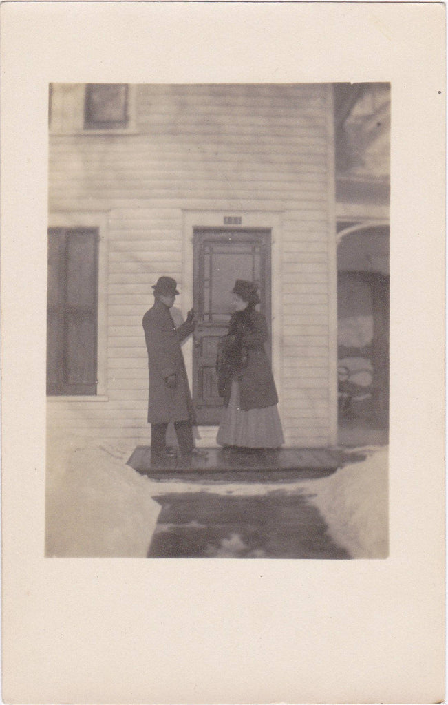 Home Sweet Home- 1900s Antique Photograph- New House- Edwardian Couple- House Warming- Found Photo- RPPC- Real Photo Postcard- Ephemera