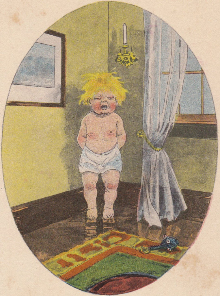 Have a Heart- 1910s Antique Postcard- Temper Tantrum- Time Out Corner- Edwardian Art Comic- Samson Brothers- Unused