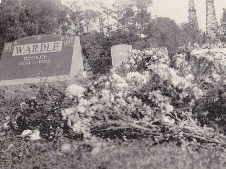 Father's Funeral Flowers- 1920s Antique Photograph- George Wardle- Sunnyside Cemetery- Long Beach, CA- Found Photo- Snapshot