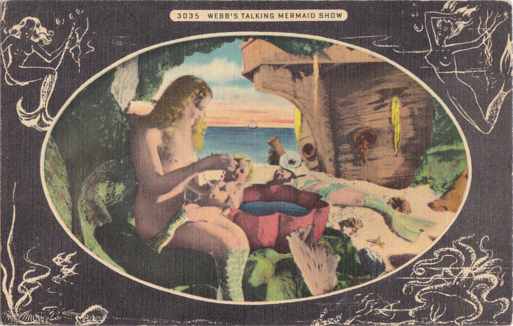 Webb's Talking Mermaid Show- 1950s Vintage Postcard- World's Most Unusual Drug Store- St. Petersburg, Florida- Souvenir- Unused