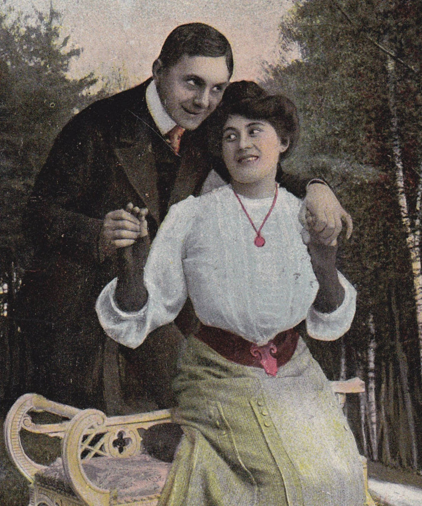 Silly In Love- 1900s Antique Postcard- Edwardian Couple- Romance- Valentine Card- Used