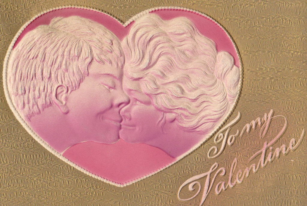 Smoosh Face Kisses- 1900s Antique Postcard- Edwardian Valentine- Kissing Couple- Weird Kiss- Embossed- Used