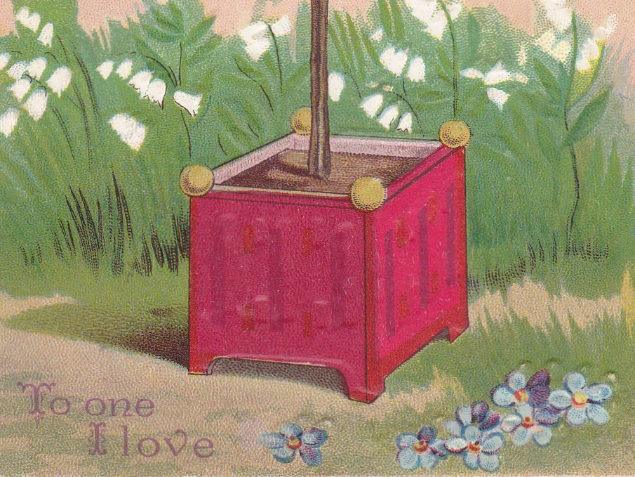 To One I Love- 1900s Antique Postcard- Edwardian Valentine- Red Hearts Tree- Floral Art- Queen of Hearts- Garden- Used