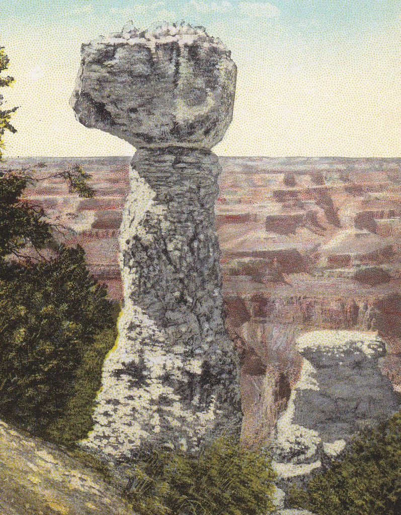 Thor's Hammer- 1930s Vintage Postcard- Grand Canyon National Park, Arizona- Rock Formation- Fred Harvey- Souvenir View- Unused
