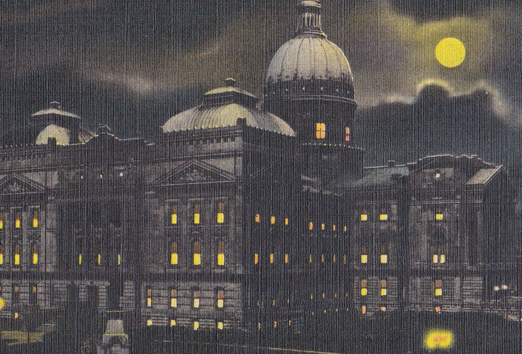 Indiana State Capitol By Night- 1930s Vintage Linen Postcard- Indianapolis, IN- Craft Greeting Card Co- Souvenir View- Nighttime View