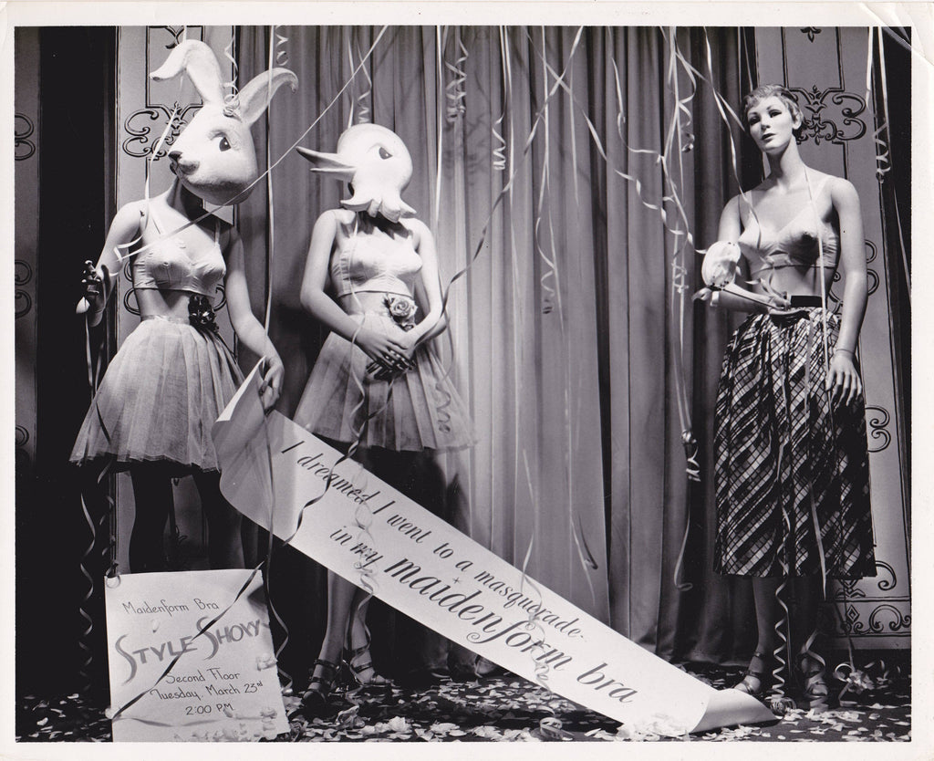 I Dreamed I Went To A Masquerade- 1950s Vintage Photograph- Maidenform Bra- Mannequin- Window Display- Parsons Souders- Clarksburg, WV-