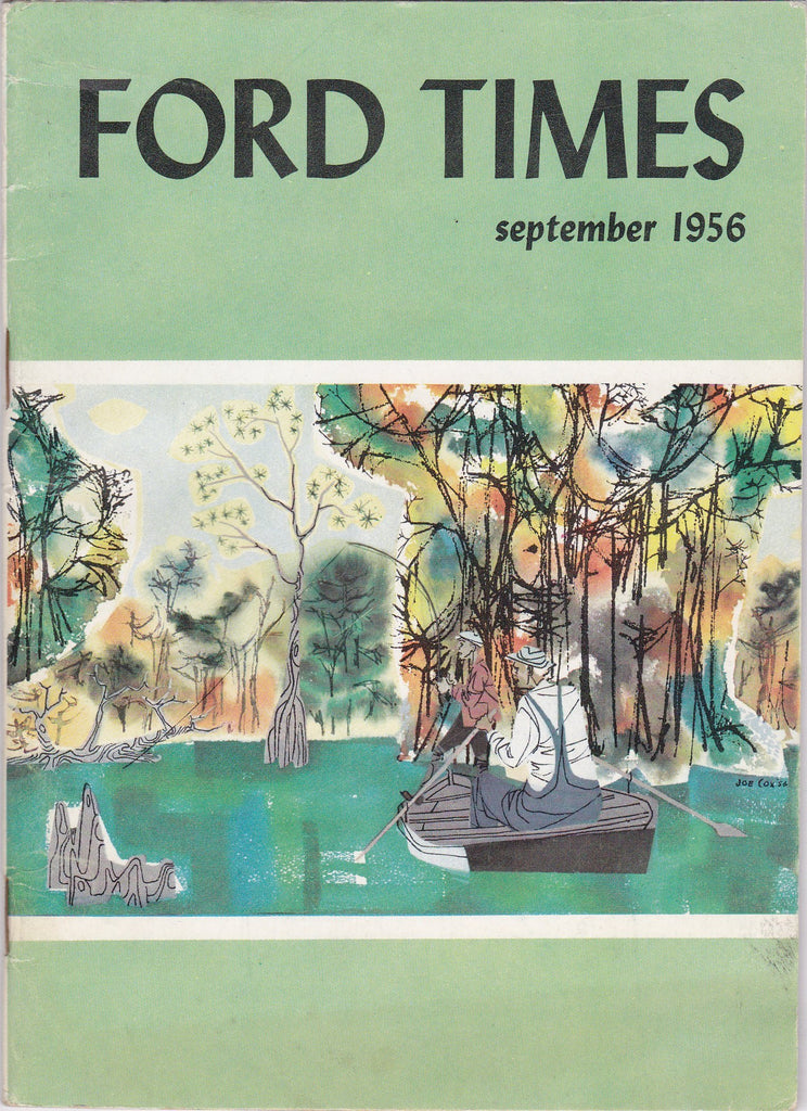 Ford Times- 1950s Vintage Magazine- September, 1956- Joseph Cox- Ford Motor Co- Dearborn, Michigan- Car Travel Guide- Paper Ephemera