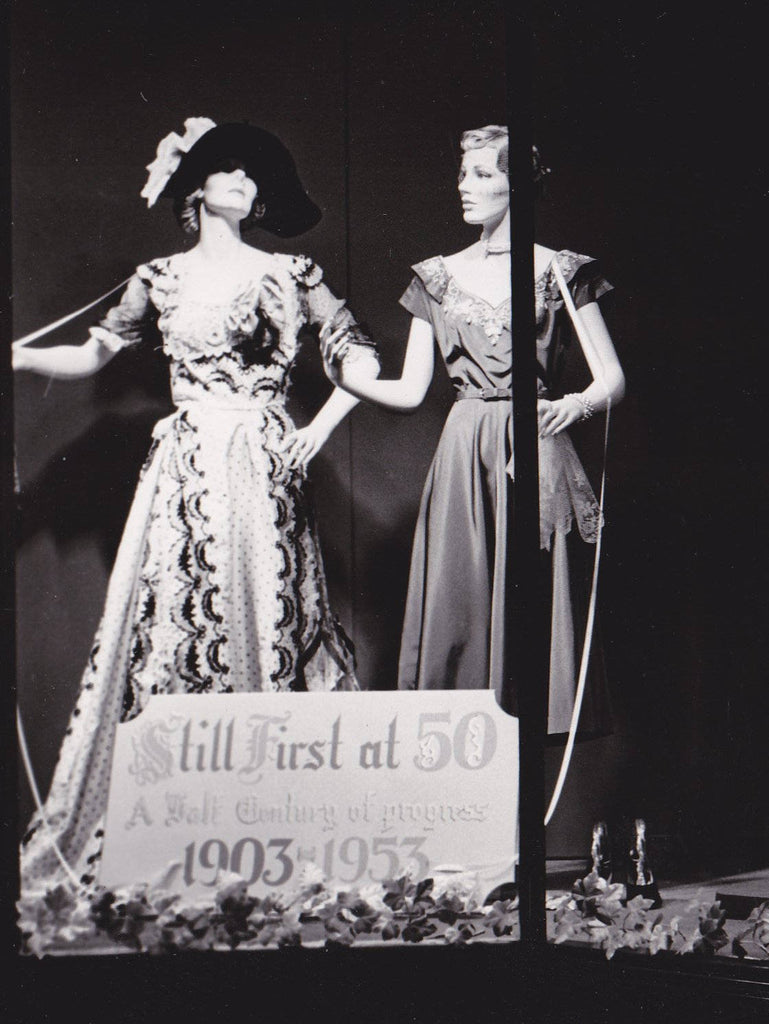 Still First at 50- 1950s Vintage Photograph- Macy's Window Display- Mannequins- Half Century of Progress- Fashion History- Found Photo