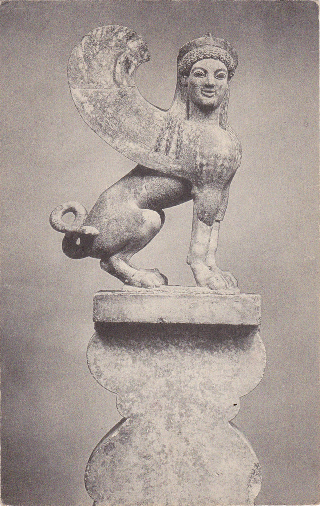 Marble Sphinx- 1930s Vintage Postcard- Attica, Greece- Metropolitan Museum of Art- Greek Mythology- Mythological Creature- Meriden Gravure Co.