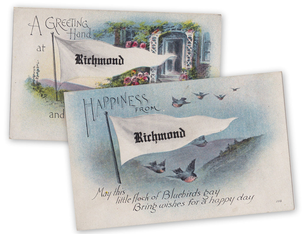 Happiness from Richmond- 1900s Antique Postcards- SET of 2- Richmond, VA- Blue Birds- Pennant Flag- Virginia Souvenir- Unused