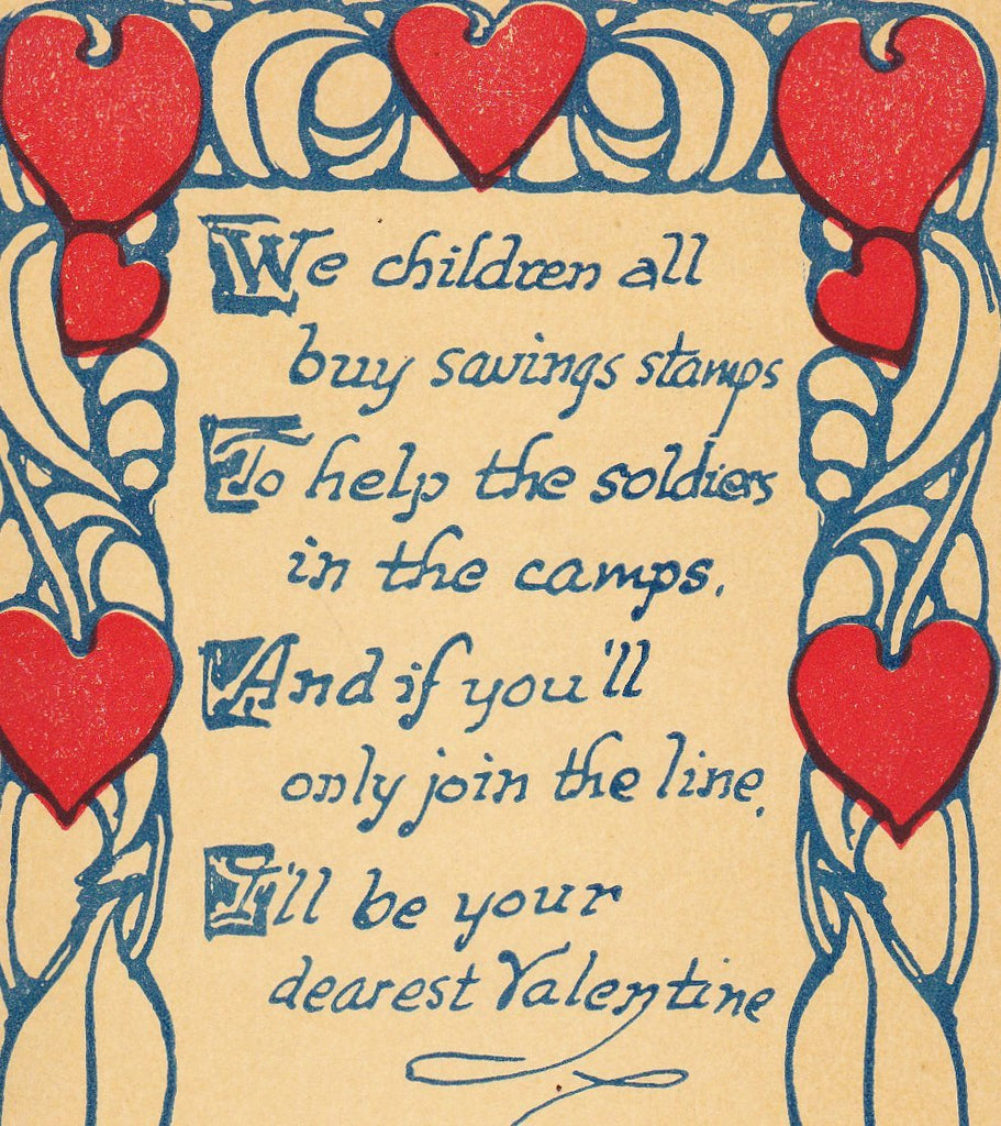 We Children All Buy Saving Stamps- 1910s Antique Postcard- WWI Valentine- First World War Savings Stamps- Patriotic- Paper Ephemera