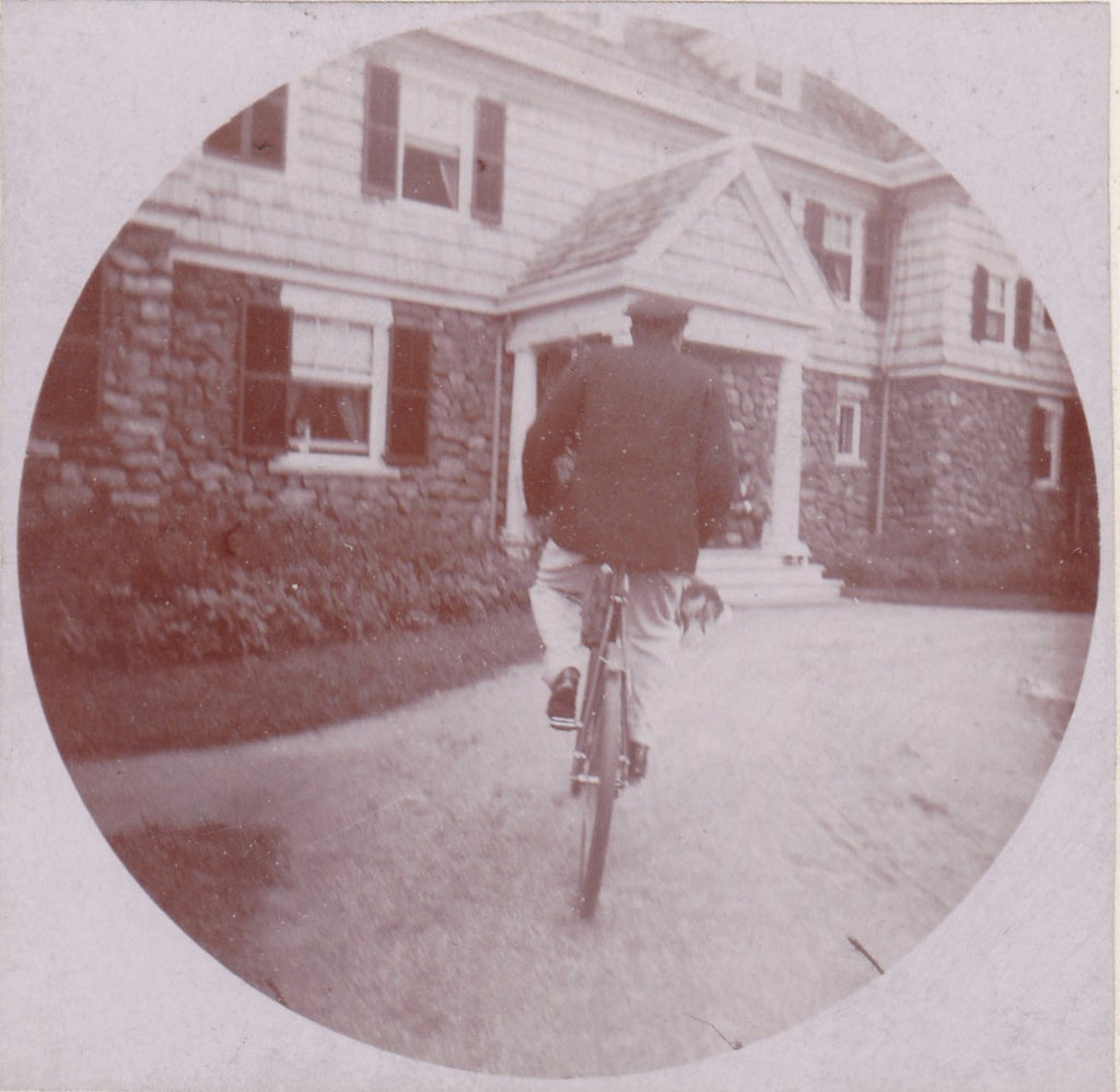Victorian Cyclist- 1800s Antique Photograph- Man on Bicycle- Early Eastman Kodak- Cabinet Photo- Found Photo- Vernacular- Paper Ephemera