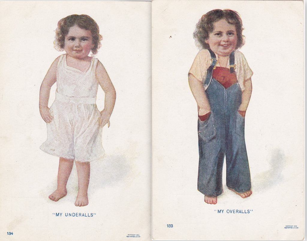 My Underalls, My Overalls- 1900s Antique Postcards- SET of 2- G S Porter- Underclothes- Edwardian Child- Fashion History- Unused