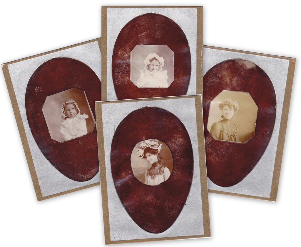 Eggstravaganza- 1800s Antique Photographs- SET of 4- Victorian Easter Bonnet- Gem Portrait- CDV Photo- Carte De Visite- Egg Shaped