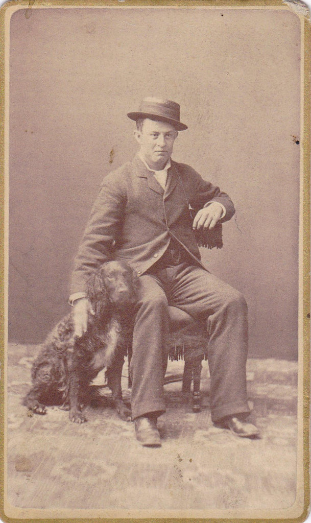 Man's Best Friend- 1800s Antique Photograph- Field Spaniel Dog- Victorian Man and Dog- Found Photo- Carte de Visite- CDV