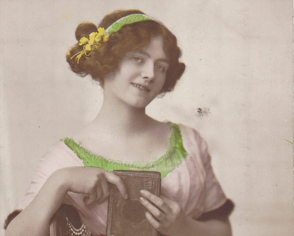 Most Essential- 1900s Antique Photograph- Edwardian Beauty- Hand Tinted- Woman with Book- Real Photo Postcard- Rotary RPPC