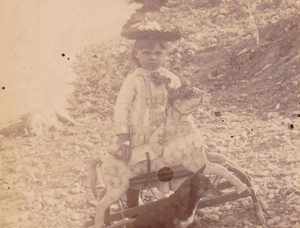 Wooden Horse- 1800s Antique Photograph- Victorian Child- Girl with Dogs- Cabinet Photo- Identified- Found Photo- Victorian Toy