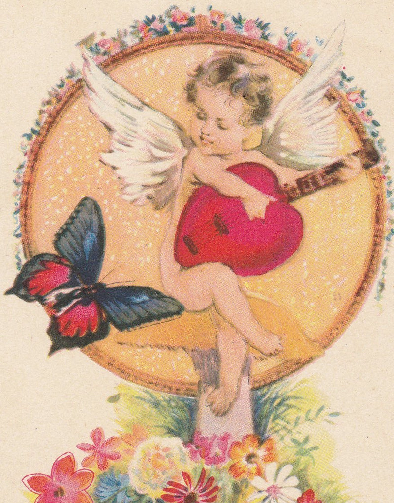 Cupid's Love Song- 1910s Antique Postcard- Edwardian Valentine- Butterfly- Mushroom Toadstool- Fantasy Art- Karle- Unused
