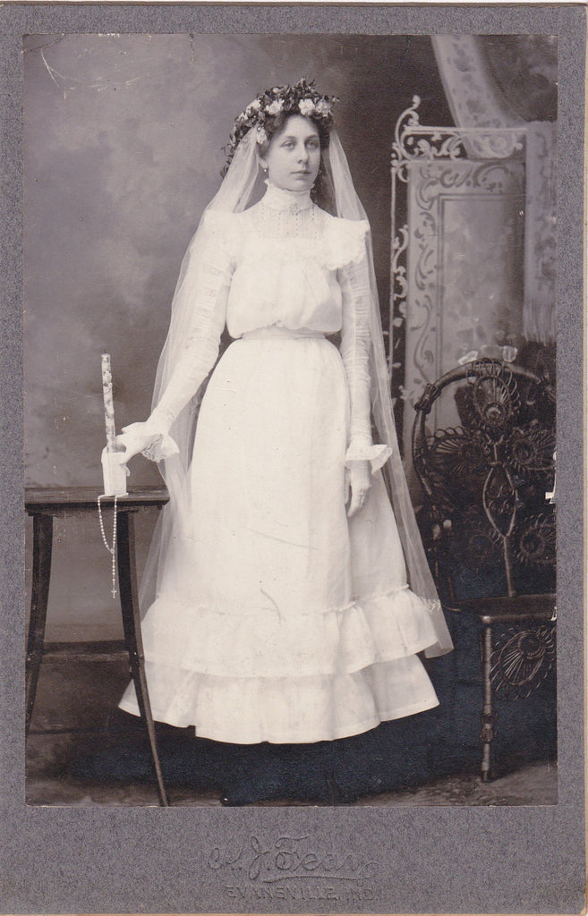 Miss Gertrude Bivens- 1890s Antique Photograph- First Holy Communion- Victorian Confirmation Girl- Evansville, IN- Cabinet Photo- Photographer A J Feay