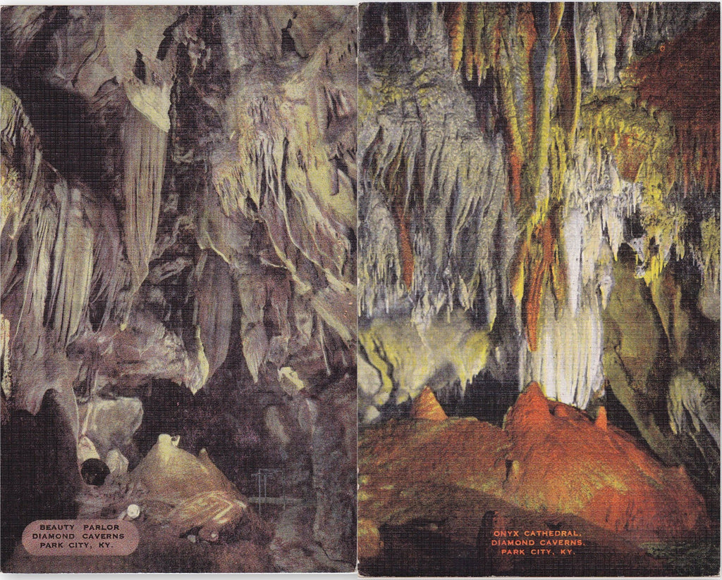 Diamond Caverns- 1940s Vintage Postcards- SET of 2- Park City, KY- Onyx Cathedral- Beauty Parlor- Cave Souvenir- Rock Formations