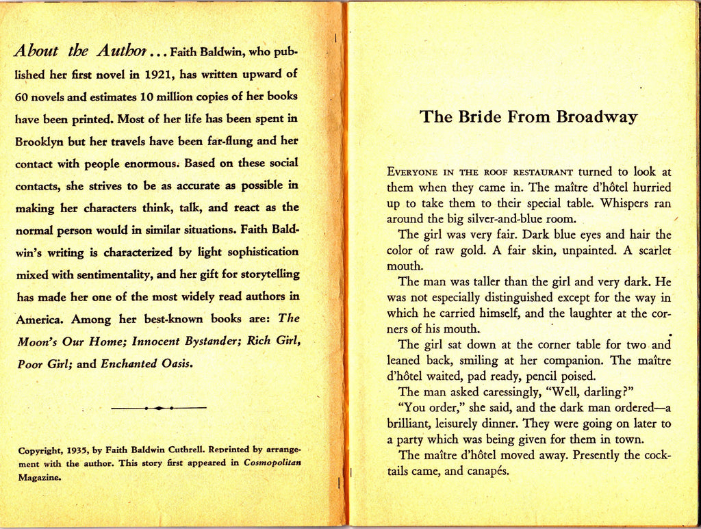 The Bride From Broadway- 1960s Vintage Magazine- Wesley Snyder- 10 Cent Dell Book- Faith Baldwin- Short Story- Romance Novelette