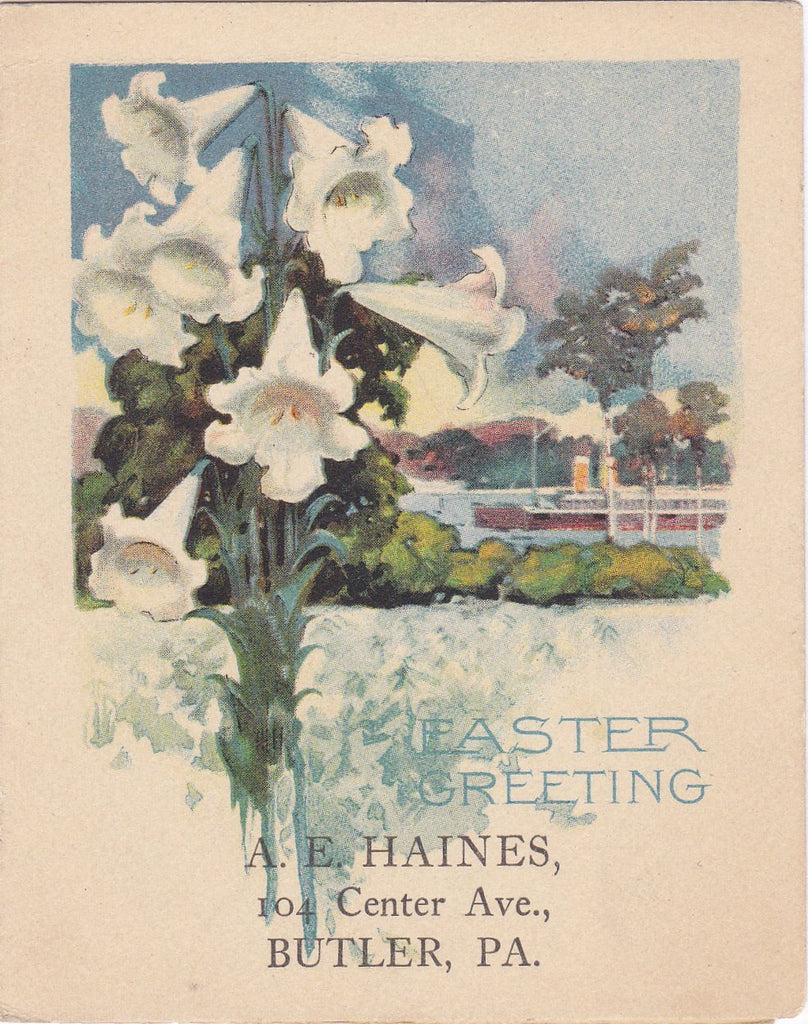 Easter Greetings- 1910s Antique Easter Card- 1917 Calendar- Butler, PA- Riverboat- Pillsbury's Best Flour- Advertisement