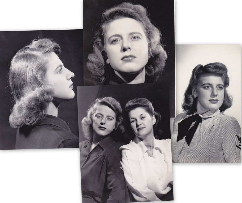 Making WAVES- 1940s Vintage Photographs- SET of 4- WW2 Navy Woman in Uniform- Girlfriends- Best Friends- Found Photos- Paper Ephemera