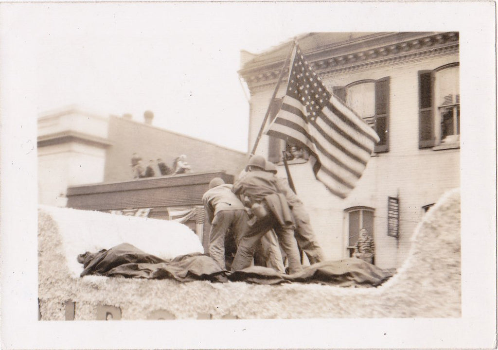 Flag Raising at Iwo Jima- 1940s Vintage Photograph- Victory Parade Float- WW2 History- WWII Military- American Flag- Found Photo