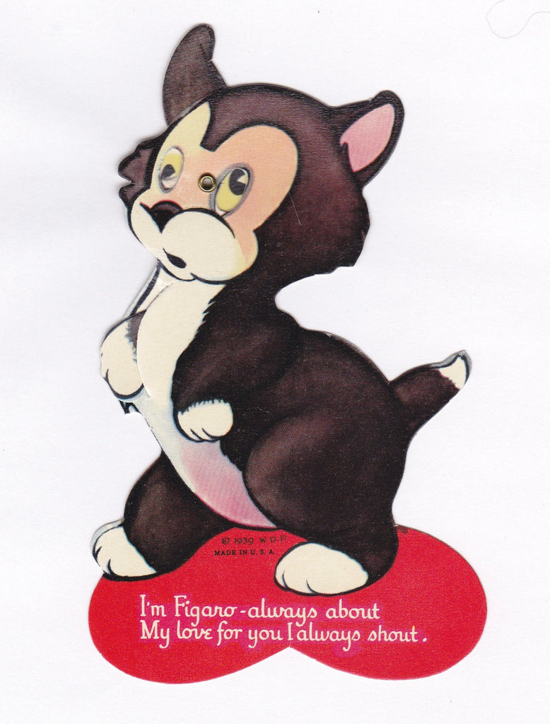 I'm Figaro Always - 1930s Vintage Card- 1939 Walt Disney Valentine- Pinocchio Cat- Memorabilia- Mechanical Card- Used