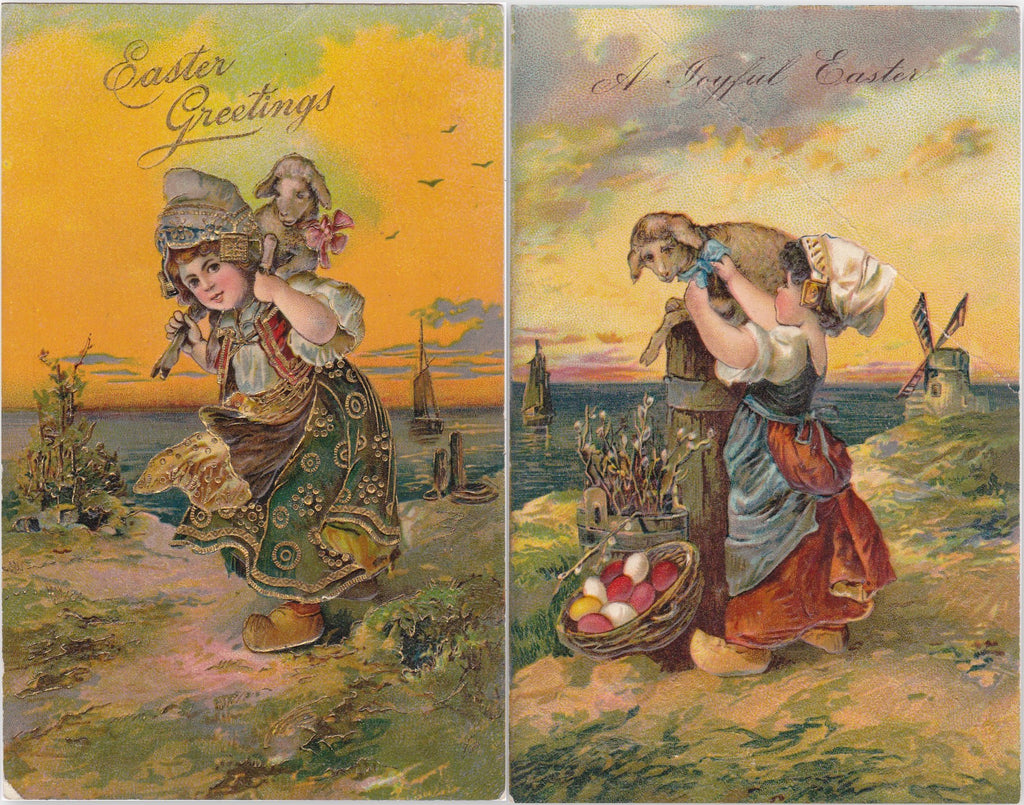 Easter Lambs- 1900s Antique Postcards- SET of 2- Dutch Girl- Wooden Shoes- Easter Morning- Sunrise- Edwardian Easter Art- Embossed- Used