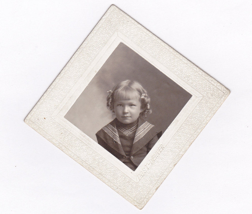 Denver Sailor Girl- 1890s Antique Photograph- Diamond Shaped- Cabinet Photo- Victorian Child- Denver, CO- Found Photo- Paper Ephemera