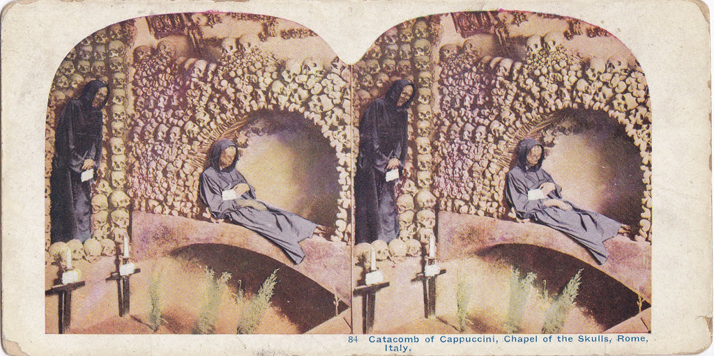 Chapel of the Skulls- 1900s Antique Stereocard- Catacomb of Cappuccini- Rome, Italy- Skeletons- Capuchin Monk- Death Mourning Paper Ephemera