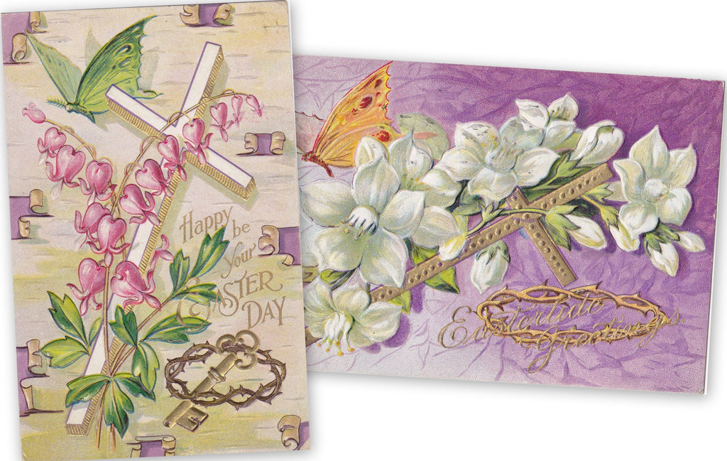Eastertide Greetings- 1910s Antique Postcards- SET of 2- Edwardian Easter- Butterfly and Flowers- Crown of Thorns- Easter Cross- Embossed