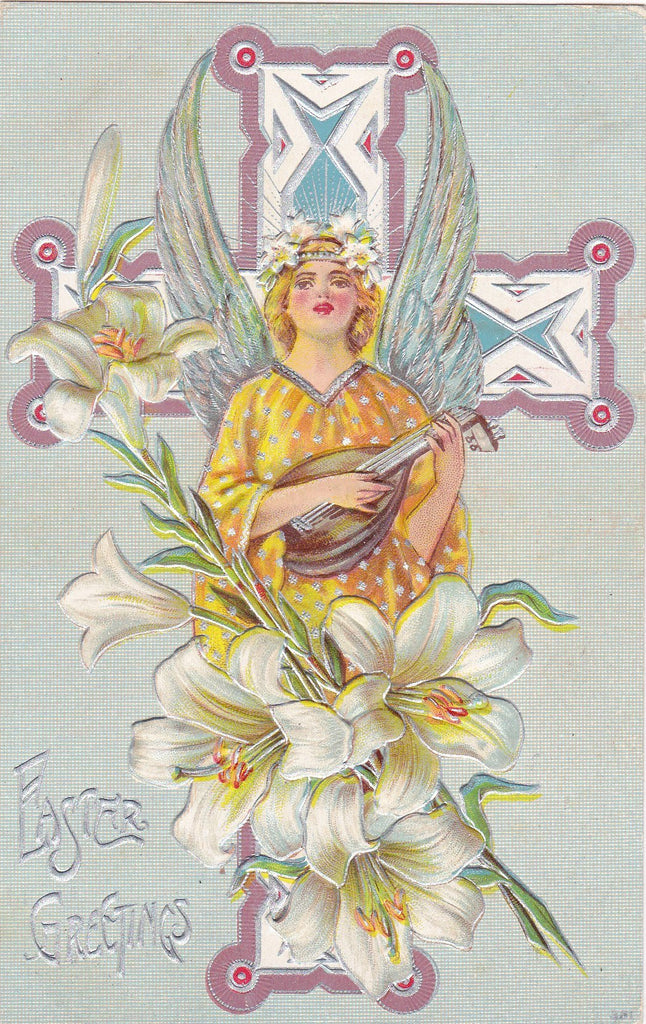 Easter Angel Lutenist- 1910s Antique Postcard- Lute Player- Edwardian Easter- Art Nouveau- Easter Lily- Embossed- Used