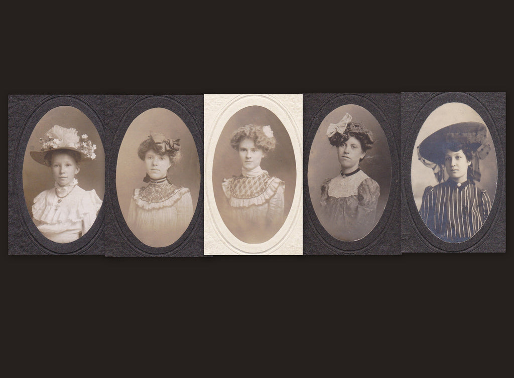 Eastertide Elegance- 1890s Antique Photographs- SET of 5- De Lux Denver- Girls Victorian Beauties- Cabinet Photos- 19th Century Fashion
