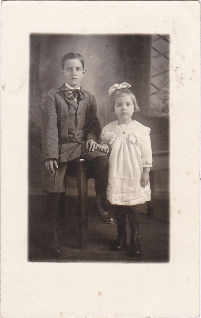 Brother and Sister- 1910s Antique Photograph- Edwardian Children- Sedalia, MO- RPPC- Real Photo Postcard- Found Photo- Paper Ephemera