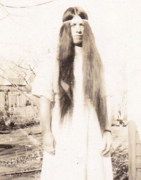 Let Your Hair Down- 1920s Antique Photograph- Woman with Long Hair- Found Photo- Vernacular Snapshot
