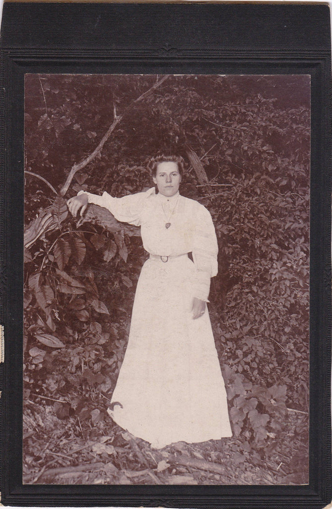 Miss Gay Conrad- 1800s Antique Photograph- Victorian Woman- Found Photo- Cabinet Photo- Haunted Forest- Outdoor- Paper Ephemera