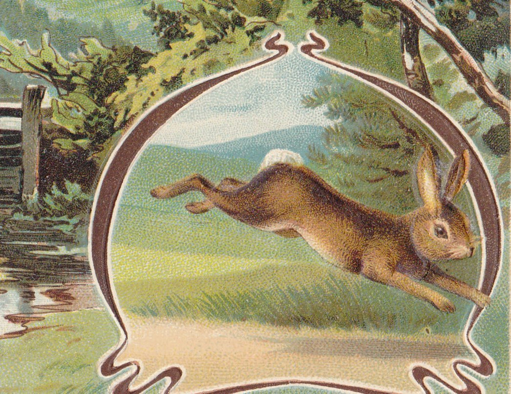 Joyous Easter Rabbit- 1900s Antique Postcard- Edwardian Easter Bunny- Springtime- Rabbit Art- German-Made- Used