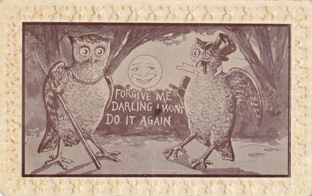 Forgive Me Darling- 1910s Antique Postcard- Night Owl- I Won't Do It Again- Edwardian Humor- Art Comic- Anthropomorphic- Used