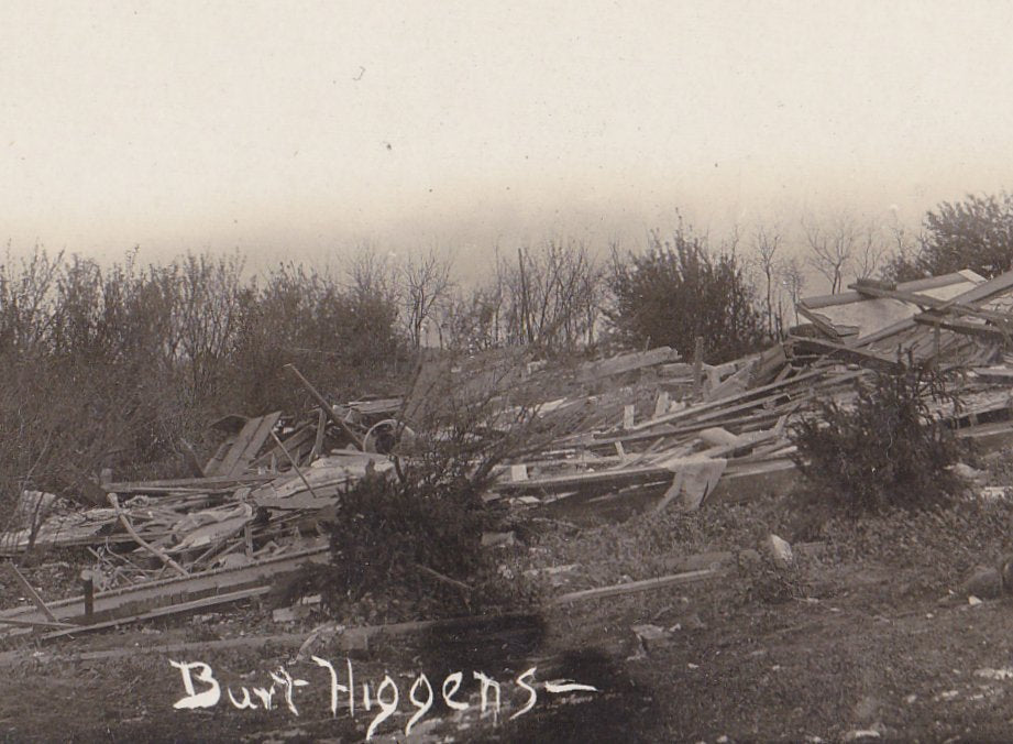 Where Burt Higgens Lived- 1910s Antique Photograph- Natural Disaster- Tornado Aftermath- AZO RPPC- Real Photo Postcard