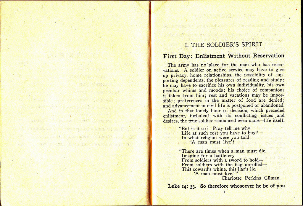The Soldier's Spirit- 1910s Antique Booklet- Drafted Men 1917 YMCA- WWI Soldier- George Stewart Jr- Enlisted Men- Military Ephemera
