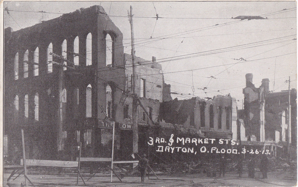 3rd and Market- 1910s Antique Postcard- Great Flood of 1913- Dayton, Ohio- March 26, 1913- Natural Disaster- Aftermath- Haenlein Bros