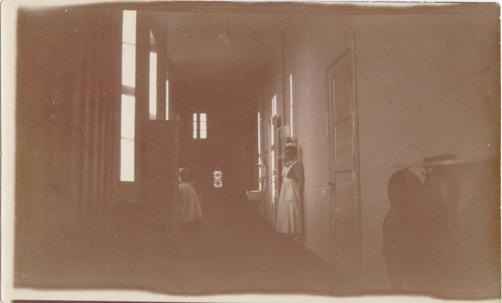 Haunted Hospital- 1910s Antique Photograph- Edwardian Nurse- Creepy Old- Found Photo- Shadow Ghost- Interior- Vernacular Snapshot