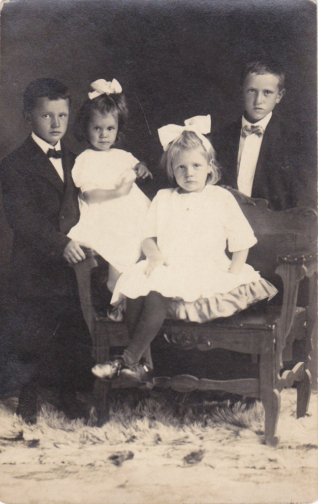 Edwardian Siblings- 1910s Antique Photograph- Brothers Sisters- Children Portrait- Found Photo- Real Photo Postcard- RPPC- Paper Ephemera