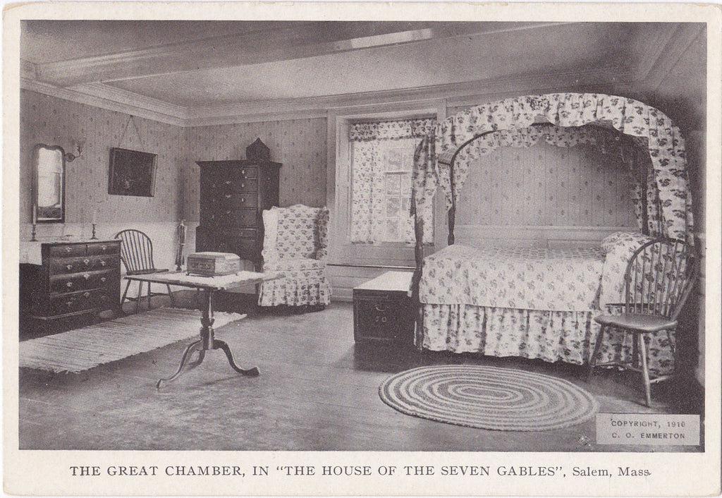 The Great Chamber- 1910s Antique Postcard- House of Seven Gables- Phoebe's Room- Salem, Mass- C O Emmerton- Private Post Card