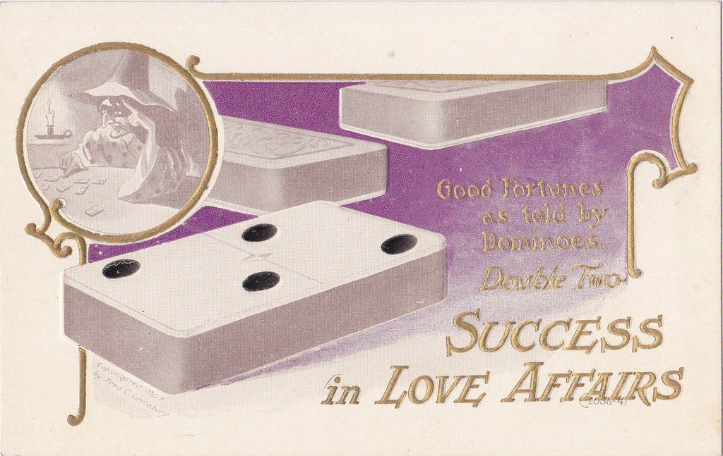 Success In Love Affairs- 1900s Antique Postcard- Fortune Told By Dominoes- Fred C Lounsbury- Double Two Domino- Witch Fortune Teller